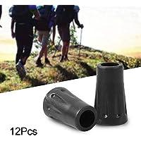 Ejoyous 12Pcs Protector para bastones, Protector de puntas de goma antideslizante antideslizante con diámetro de orificio de 12 mm, Negro
