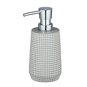 WENKO 23763100 Seifenspender Ohrid Silber, Flüssigseifen-Spender, Spülmittel-Spender Fassungsvermögen: 0,27 l, Polyresin, 10 x 16,5 x 7 cm, grau