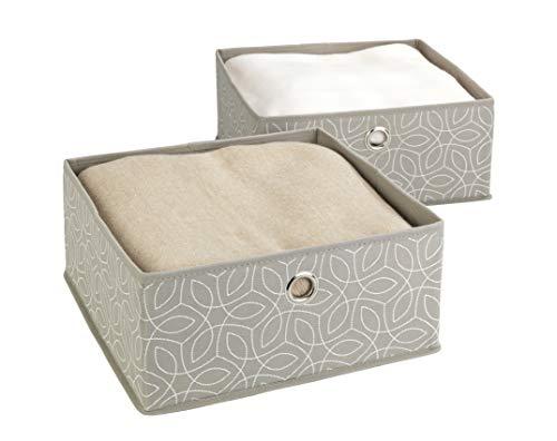 Wenko 64517100 Balance Lot de 2 boîtes de Rangement pour tiroirs Taupe 28 x 13 x 28 cm