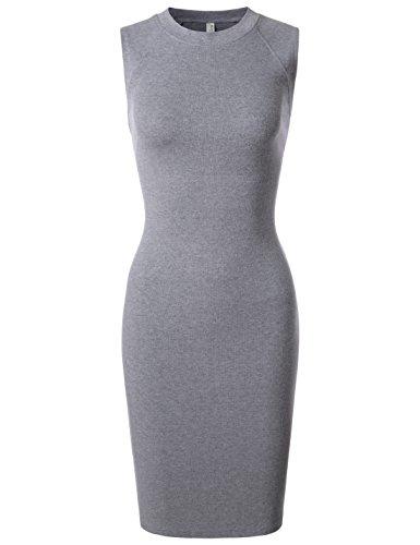 Nearkin Womens Slim Cut Scoopneck Sleeveless One-Piece Midi Dress