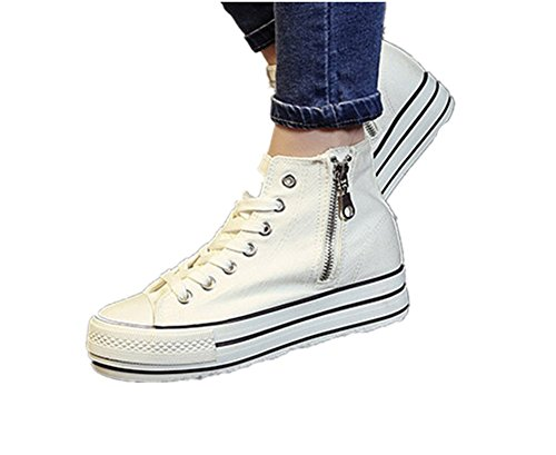 Wealsex Klassische Canvas Schuhe damen high top Sneaker Weiß