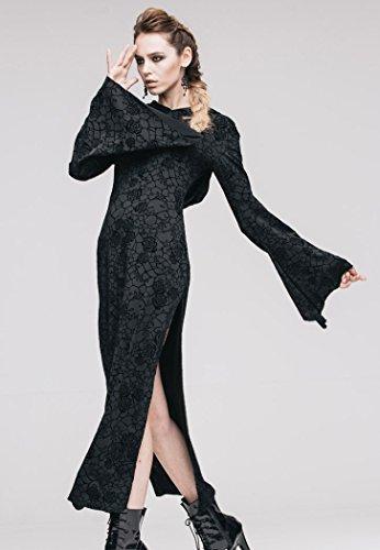 Robe longue noire à motifs, manches évasées et capuche, sorcière occulte Noir