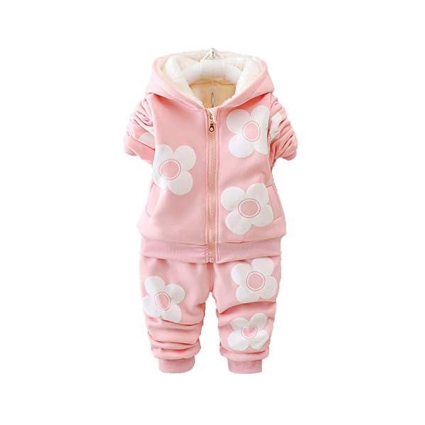 Unique Life - Abrigo de Cintura cálido para bebés y niñas con diseño de otoño + Sudadera + Pantalones, 3 Piezas, Traje… 5