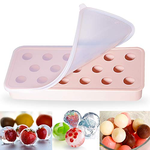 NEUFLY Eiswürfelform, Silikon Eiswürfelform mit Deckel DIY BPA Frei Kugel Eiswürfelformen für Familie, Partys und Bars - Hellrosa