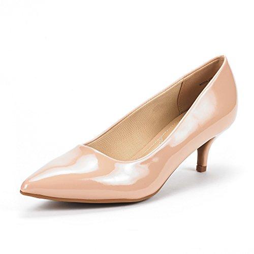 DREAM PAIRS Moda Zapatos de Tacón Bajo Pump para Mujer Desnudo Charol 38 EU/7 US