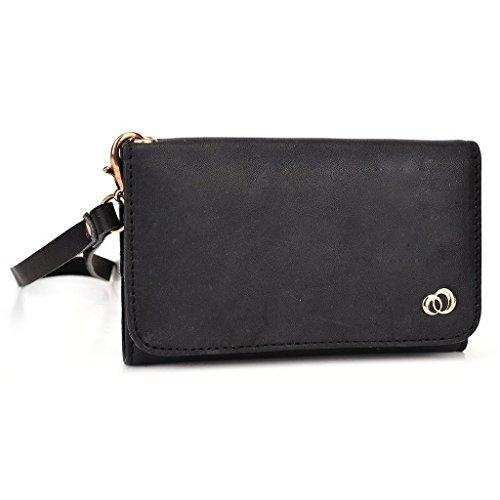 Kroo Pochette en cuir véritable pour téléphone portable pour Alcatel POP Icon/Pop 2(5)/Pop S7/One Touch Scribe facile double SIM noir - noir noir - noir