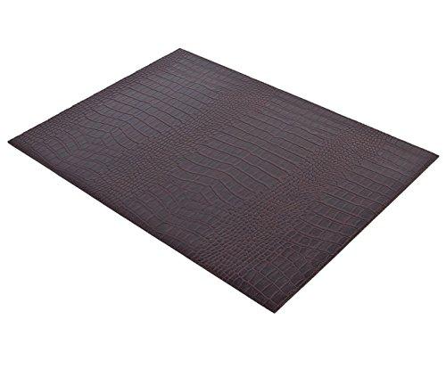 SIGNATURE HOME COLLECTION AP-104-A02 Lot de 6 sets de table réversibles et faciles d'entretien en cuir imitation crocodile Brun foncé 45 x 33 cm Hauteur 0,5 cm