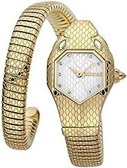 ساعة يد سيغناتشر كوارتز بعقارب سوربنت سولو من جاست كافالي بتصميم افعى بسوار ستانلس ستيل للنساء - موديل JC1L177