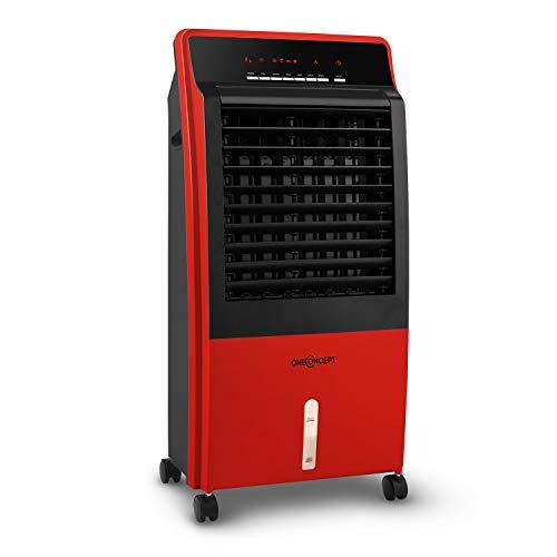 oneConcept CTR-1 Luftkühler mit Wasserkühlung 4-in-1 Klimagerät Lufterfrischer Ventilator Ionisator (8 Liter Wassertank, 65 Watt, LED-Display, 3 Stufen, 400 m³/h Luftdurchsatz) rot