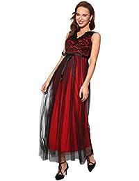 KRISP® Women Ladies Lace V Neck Sleeveless Cocktail Party Long Maxi Dress  Evening Gown f28596c95