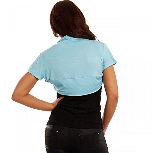 Young-Fashion - Boléro - Cape - Uni - Manches Courtes - Femme bleu clair