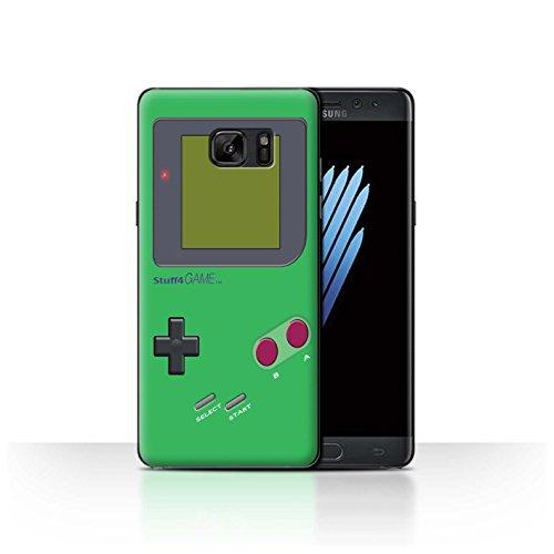 Custodia/cover/caso/cassa rigide/prottetiva stuff4 stampata con il disegno video gioco/gameboy per samsung galaxy note 7/n930 - verde