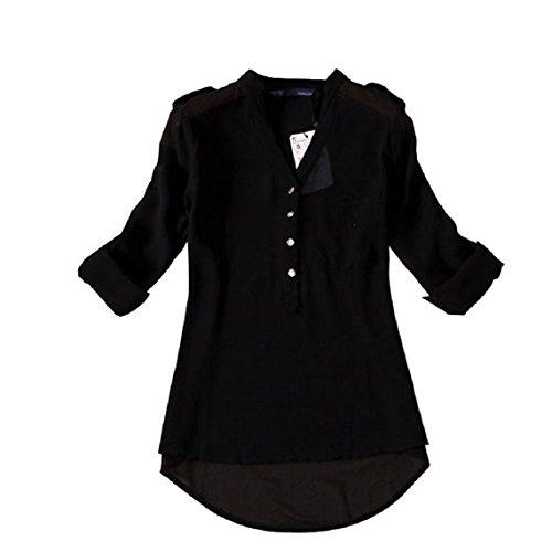 Minetom Donna Lunga Camicetta Tunique V-Collo Chiffon T-Shirt Top Ol Shirt ( Nero EU L )