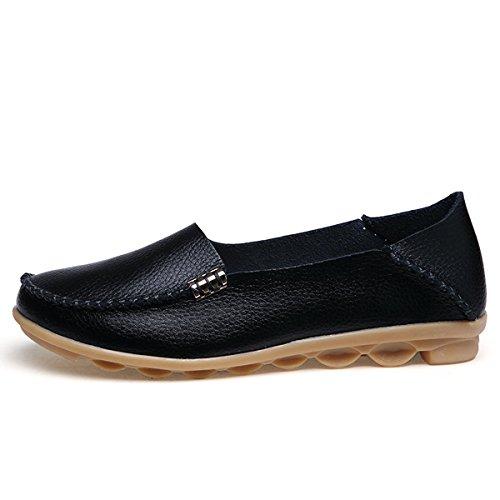 fisca Chaussures de Tanner Surface pilote Bateau Casual en Cuir Flâneur Plat pour femme Noir