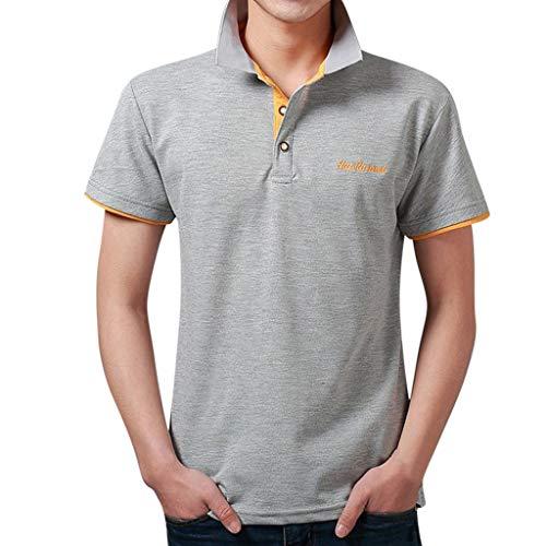 Yvelands Herren T-Shirt Mode Brief Druck Shirt Kurzarm Casual T-Shirt Bluse Polo Business T-Shirt Tops(M,XXL)