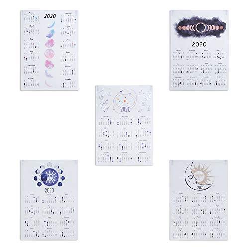 5 Piezas Calendario 2020 Tela Calendario Eclipse De Luna Calendario Tapiz Tapiz De Pared Estilo INS Escritorio Pared Fase Lunar Calendario Decoración Del Hogar Para El Dormitorio (35 * 50CM)