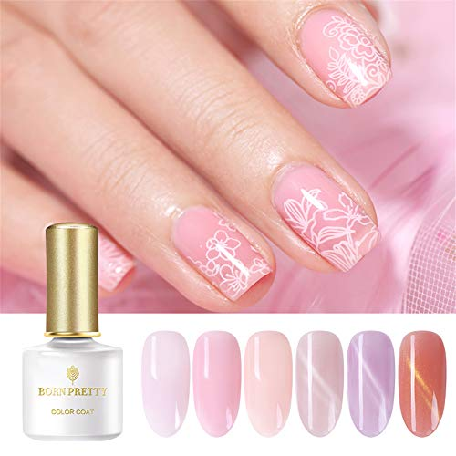 BORN PRETTY Gel Nail Polish Set-6 Colors Soft Pink Nude Cat Eye Translucent Soak Off UV LED Nail Gel Kit Required UV LED Lamp 6ml