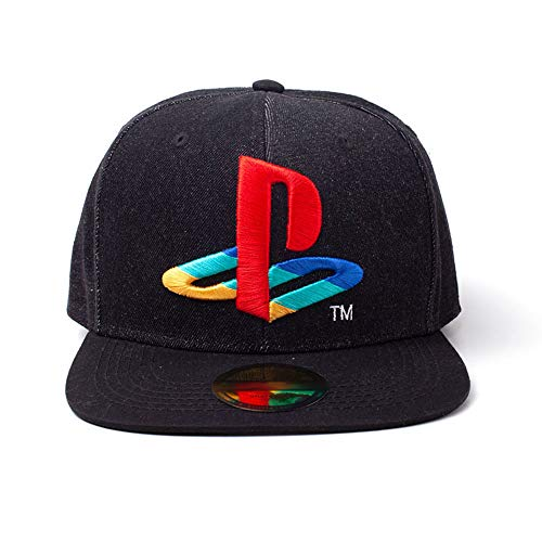 Sony Playstation Logo Denim Bestickt Baseball Kappe Snapback, Schwarz Sb247883sny (Playstation Cap)