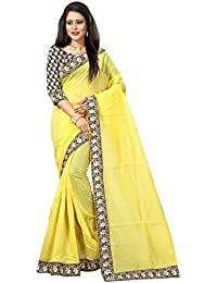 Rajeshwar Fashion Women's Yellow Colour Chanderi Cotton Saree With Unstitched Blouse Piece