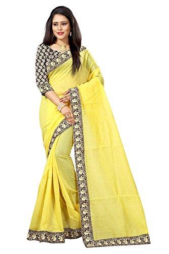 Rajeshwar Fashion Women's Yellow Colour Chanderi Cotton Saree with Unstitched Blouse Piece