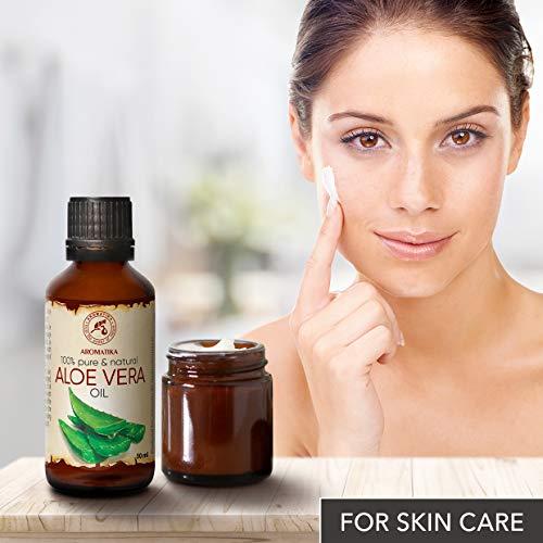 Aloe Vera Öl reines, 100% naturreines, 50 ml, Glasflasche, Aloe Vera-Öl Basisöl -Aloe Barbadensis, Brasilien, raffiniert, reich an Vitaminen A, B1, B2, B6 and B12, hat feuchtigkeitsspendende revitalisierende Eigenschaften, Intensive Pflege für Gesicht, Körper, Haare, Haut, Nägel, Hände, für Schönheit / Massage/ Wellness/ Kosmetik/ Körperpflege von AROMATIKA - 3