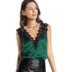 SOLY HUX Mujer Top de Satén con Cuello en V y Ribete de Encaje,Verde XS-L