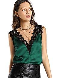 SOLY HUX Top de Satén con Cuello en V y Ribete de Encaje,Verde XS-L