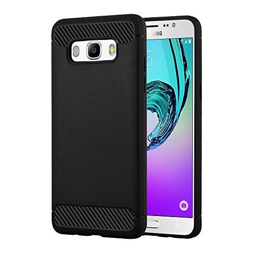 Preisvergleich Produktbild Cadorabo Hülle für Samsung Galaxy J5 2016 (6) - Hülle in Brushed SCHWARZ – Handyhülle aus TPU Silikon in Edelstahl-Karbonfaser Optik - Silikonhülle Schutzhülle Ultra Slim Soft Back Cover Case Bumper