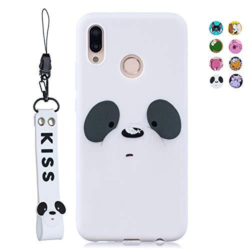 ChoosEU Compatibile per Cover Huawei P20 Lite Silicone Disegni Panda Orso Colorate Custodia Morbido per Ragazze Donne Ragazzi, Case Antiurto Divertente Gomma Matte (Cordoncino) - Panda