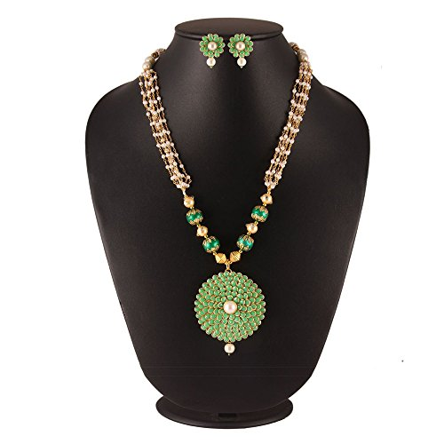 Simaya Fashionista Classy Green Pachi Pearls Pendant Set With Chain For Indian Beauties (SF9160)