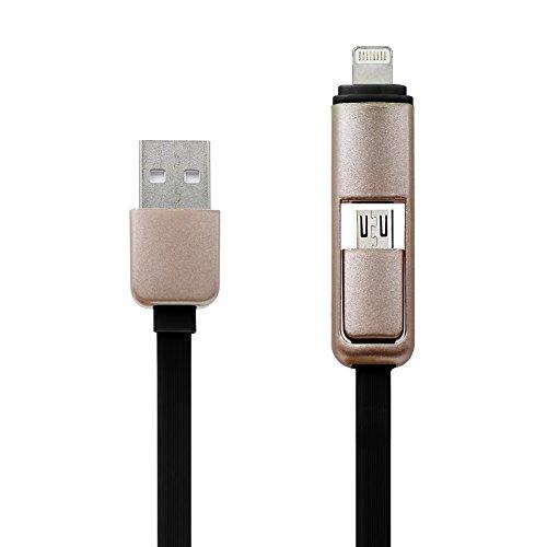 USB Kabel, 2-in-1 Universal Multi-Ladegerät und -Ladekabel für iPhone5 5S 6 6S Plus IPad 4 5 Ipad Air Pro Mini 2 3 4, HTC, LG G3 G4,Powerbank und andere Android-Smartphones (schwarz)