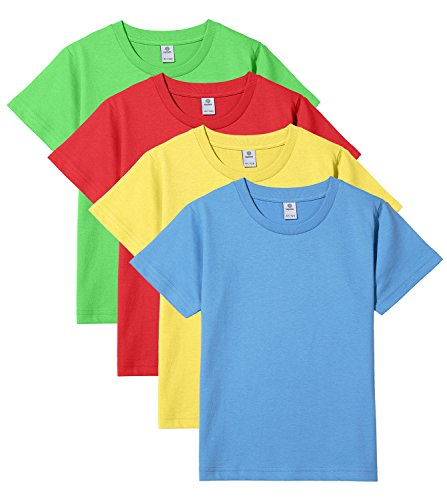 Lapasa 4er Pack Kinder T-Shirt - 100% Premium Els Baumwolle - Kurzarm Junger Kids Unterhemd (6 Jahre, 4 Farben (Rot+Grün+Gelb+Blau)) (Kinder T-shirt 6 Leichte)