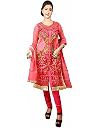 ADPSR Fashion Women Chanderi Embroidered Suit With Churidar Pant & Dupatta, (Size: L, Pink)