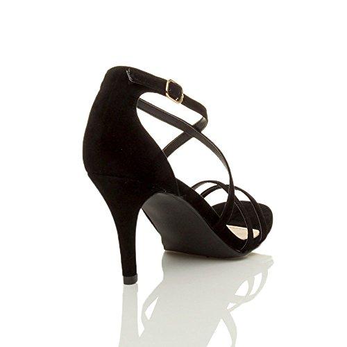 Femmes talon moyen haut lanières croisé mariage bal sandales chaussures taille Daim noir