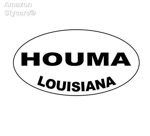 Stycars® 14.9Cm*7.9Cm Houma Louisiana Oval Vinyl Decal Car Sticker Black