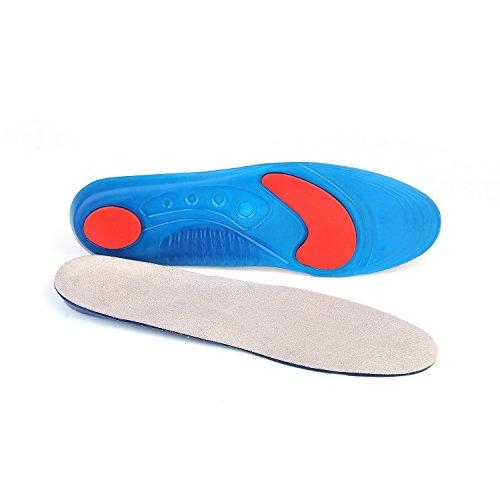 AMZMML Plantillas deportivas Adecuado para botas de trabajo Caminar pedal de carreras Talón de pie de pie plantillas en gel (EU 35-40/ UK 2.5-6.5, Gris sin hoja de soporte de TPU)