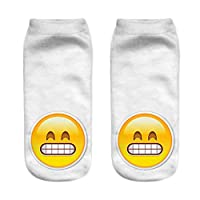 anhuihongfuchayeyouxiangongsi Simple Cute Emoji Pattern Socks Sports Stocking for Girls Boys Teenagers