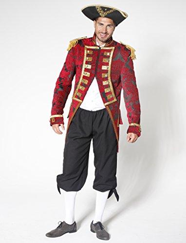 Jacke Brokat Herren rot/schwarz XXXXL (4XL) (Fürst Kostüme Männer)