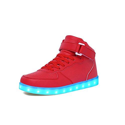 huhe Leuchtschuhe 2017 Verbesserung 7 Farbe Blinkende Leuchtende Light Up High Top Sneakers(33, Rot) (Spezielle Halloween-2017)