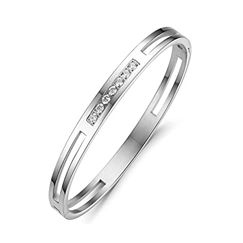 AnaZoz Fashion Jewelry Simple Personality Couple's Fashion Bangle Bracelet Stainless