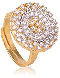K Mangalam Gold Plated American Diamond Adjustable Size CZ Ring For Women & Girls- One Gram Gold Jewellery