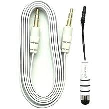 Emartbuy® Aux Paquete para ZTE Grand S3 / Blade L3 - Blanco Lápiz Óptico Metálico + Blanco Cable Conector Estéreo Auxiliar de 3,5 mm Plano Antienredos