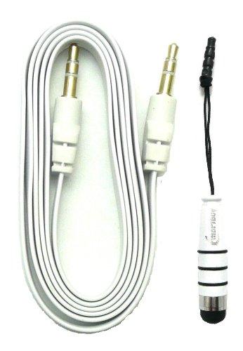 Emartbuy® Blaupunkt Polaris 808 Tablet PC 8 Zoll Aux Pack - Weiß Metallic Mini Eingabestift + Weiß FlachAnti-TanglezusätzlichesStereo3,5 mm Stecker