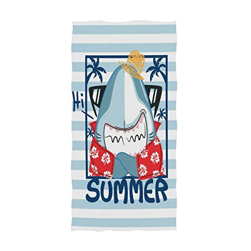 XCVNBX Funny Cartoon Shark in Hawaiian Aloha Shirt Sunglasses Striped Pattern Soft Large Hand Towels for Bathroom, Hotel, Gym and Spa Bath Towel (Hawaiian Shirt Boot)