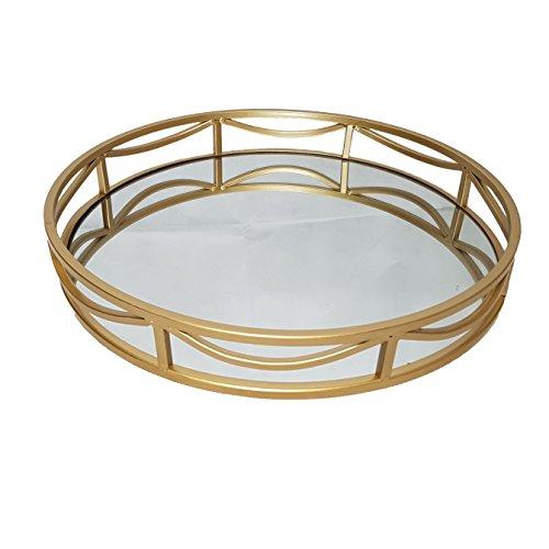 Plateau de présentation en métal doré Ardoise et Rose Ø 39,5 cm x Hauteur 5,5 cm