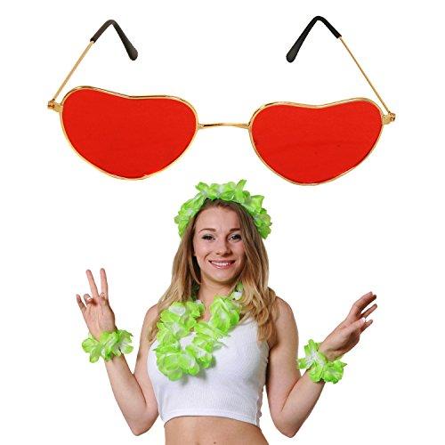Fancy Bing Dress Kostüm - GRÜNES HAWAII SET+ROTER HERZ FORM BRILLE = SÜDSEE KOSTÜM ZUBEHÖR = 4 TEILIGE+ BRILLE=SÜDSEE PARTY FASCHING KARNEVAL = LEI SET BEINHALTET -BLUMENKETTE + 2 BLUMEN ARMÄNDER + 1 BLUMEN STIRNBAND