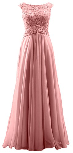 MACloth Elegant Cap Sleeves Long Prom Dress Lace Chiffon Formal Evening Gown Blush Pink