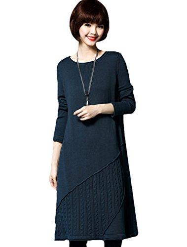MatchLife Damen Knit Langarm Jumper Pullover Sweater Style6-Lake Blau