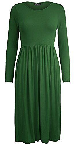 Comfiestyle - Robe - Patineuse - Manches Longues - Femme green