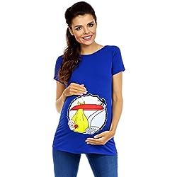 Zeta Ville - T-shirt Camiseta Top divertido estampada - para mujer 232c (Azul Real, EU 38/40)